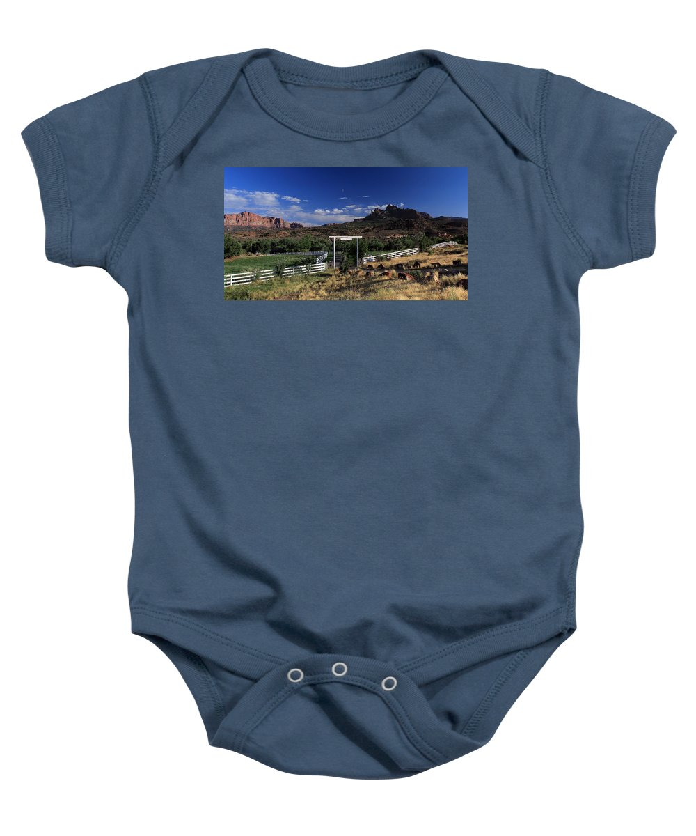Grand View Ranch Baby Onesie featuring the photograph Moonrise Over Grand View Ranch by Dave Sribnik