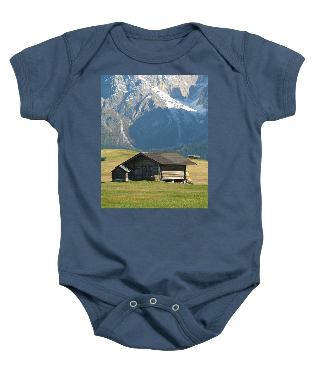 Mountain Scene Baby Onesie featuring the photograph Mountain Hut In Alpi Di Suissi Beneath The Dolomites Of Italy by Greg Matchick