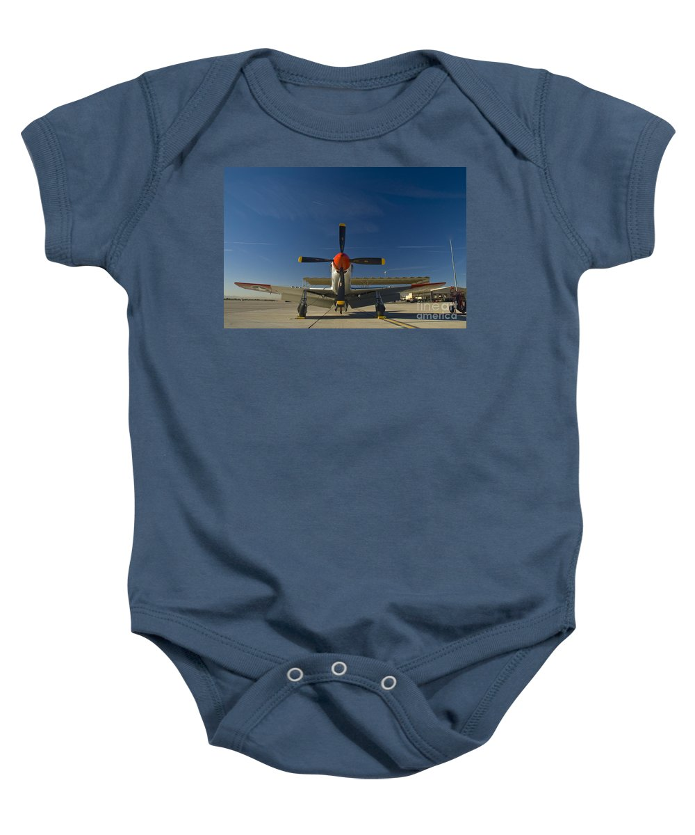 P-51 Baby Onesie featuring the photograph Mustang by Tim Mulina