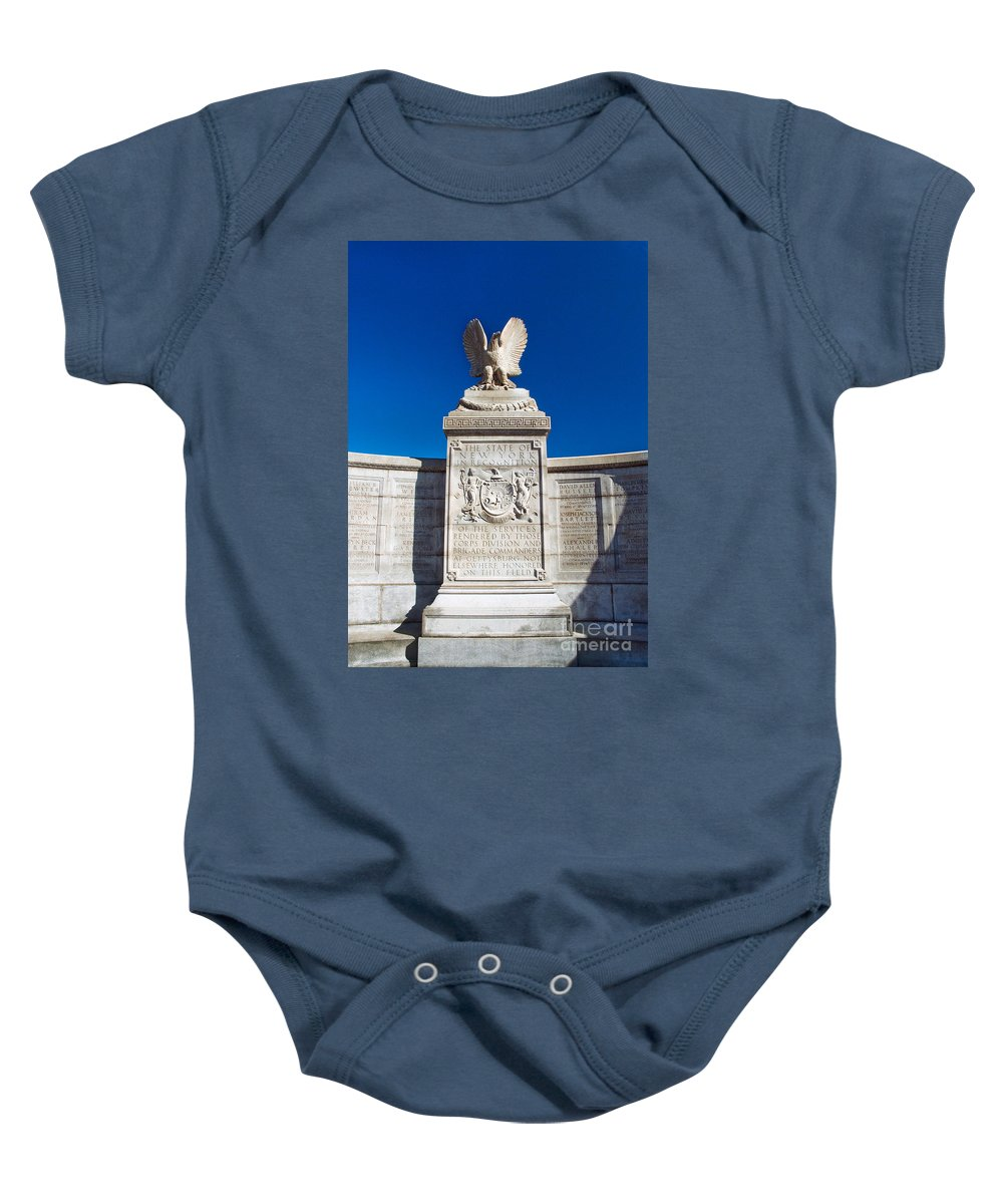 Gettysburg Baby Onesie featuring the photograph New York Monument by Paul W Faust - Impressions of Light