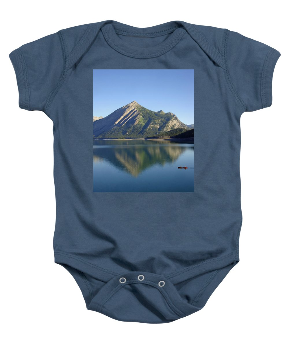 Paddle Baby Onesie featuring the photograph Sunrise Paddle In Peace - Kananaskis, Alberta by Ian Mcadie