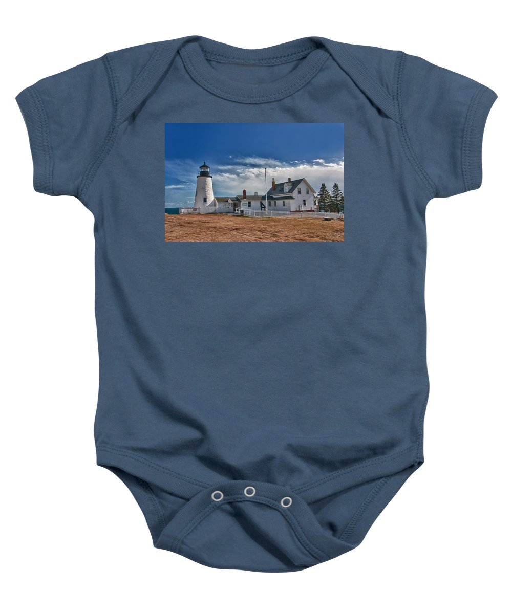 Buildings Baby Onesie featuring the photograph Pemaquid Point Lighthouse 4800 by Guy Whiteley