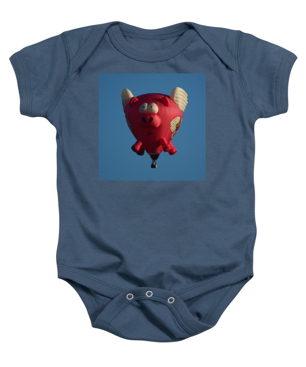 Balloons Baby Onesie featuring the photograph Pigs Do Fly by Ernie Echols