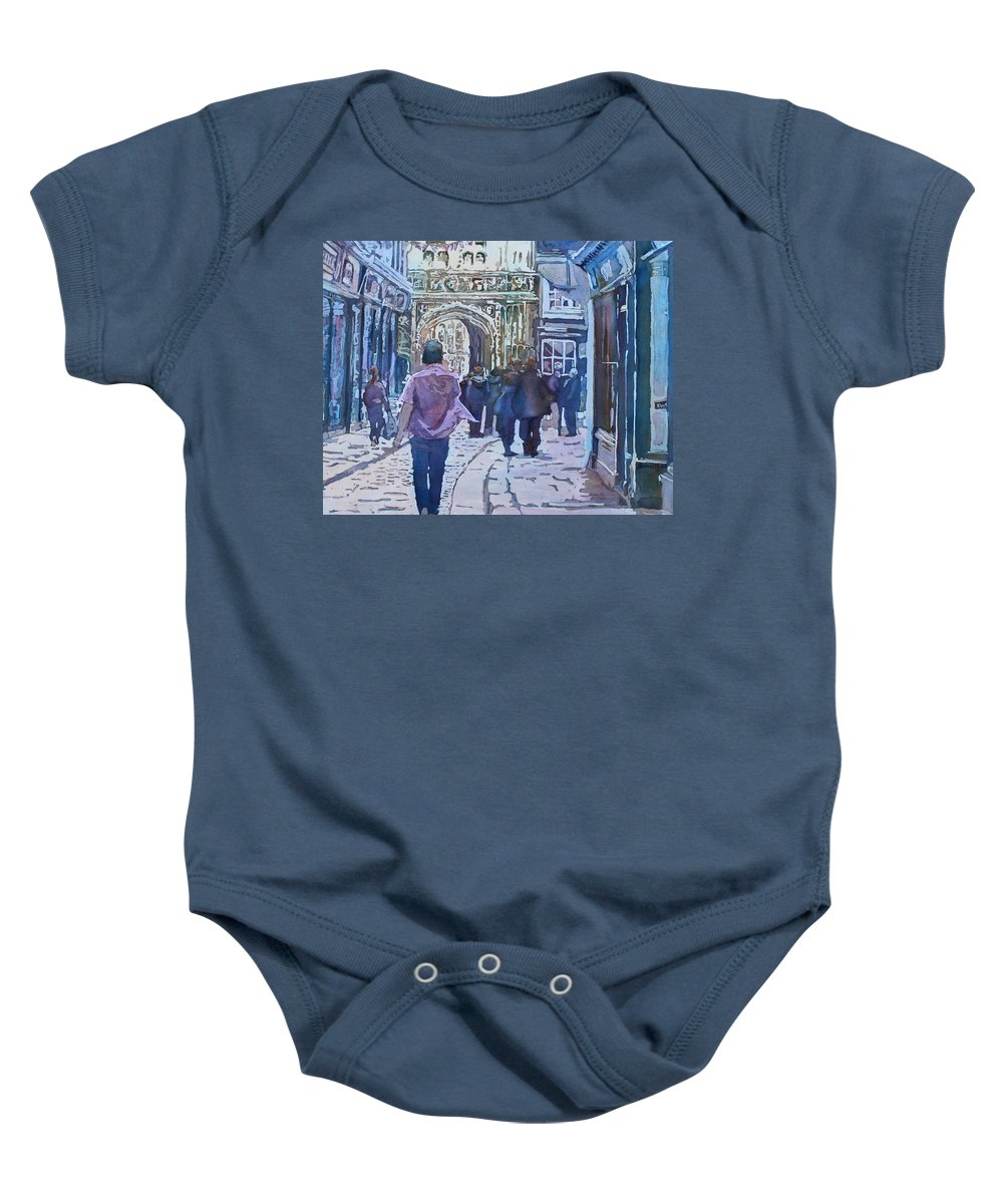 Canterbury Baby Onesie featuring the painting Pilgrims At The Gate by Jenny Armitage