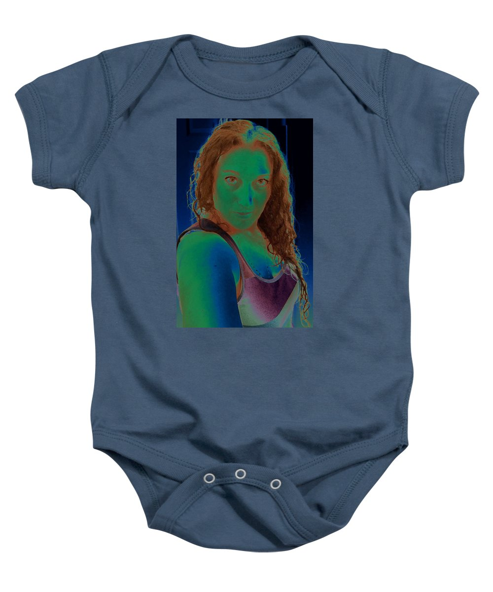 Green Baby Onesie featuring the photograph Self Portrait Sassy by Teri Schuster