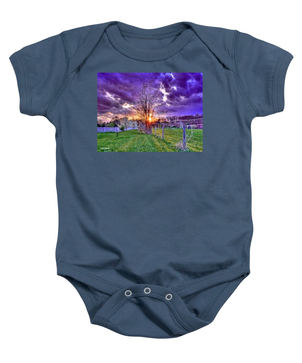 Sunset Baby Onesie featuring the photograph Setting Sun by Stephen Younts