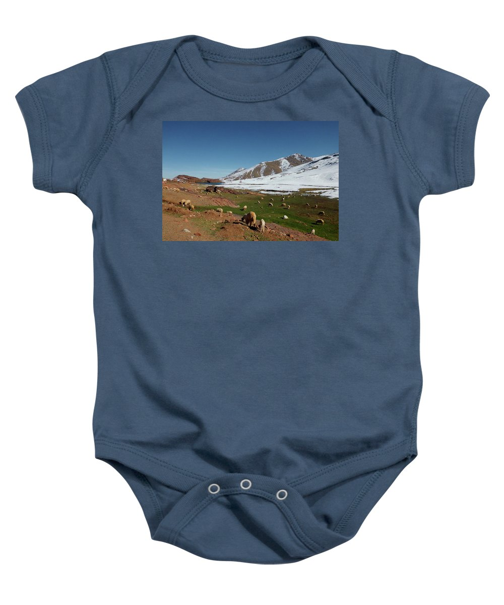 Travel Baby Onesie featuring the photograph Sheep In The Atlas Mountains 02 by Miki De Goodaboom