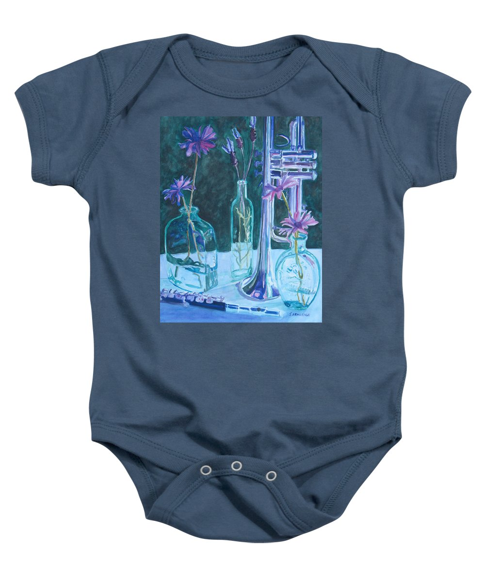 Still Life Baby Onesie featuring the painting Silvery Night Music by Jenny Armitage