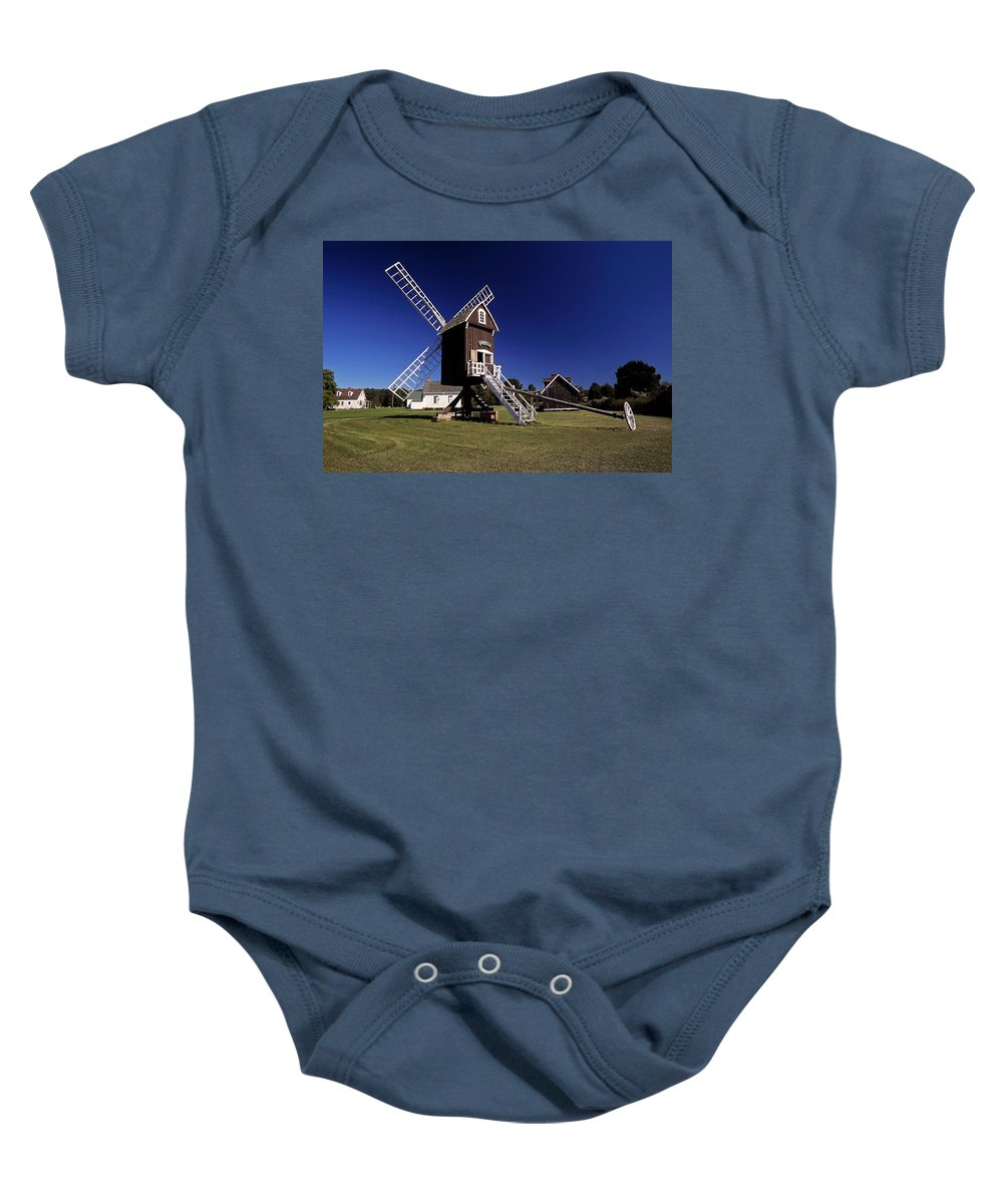 Spocott Windmill Baby Onesie featuring the photograph Spocott Windmill by Sally Weigand