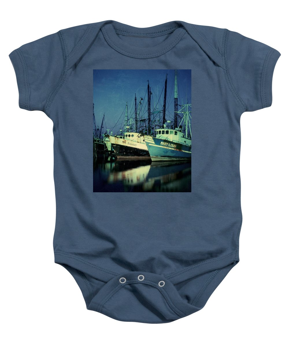 Shrimpboats Baby Onesie featuring the photograph The Shrimp Boats Are Coming To Texas Tonight by Garry McMichael