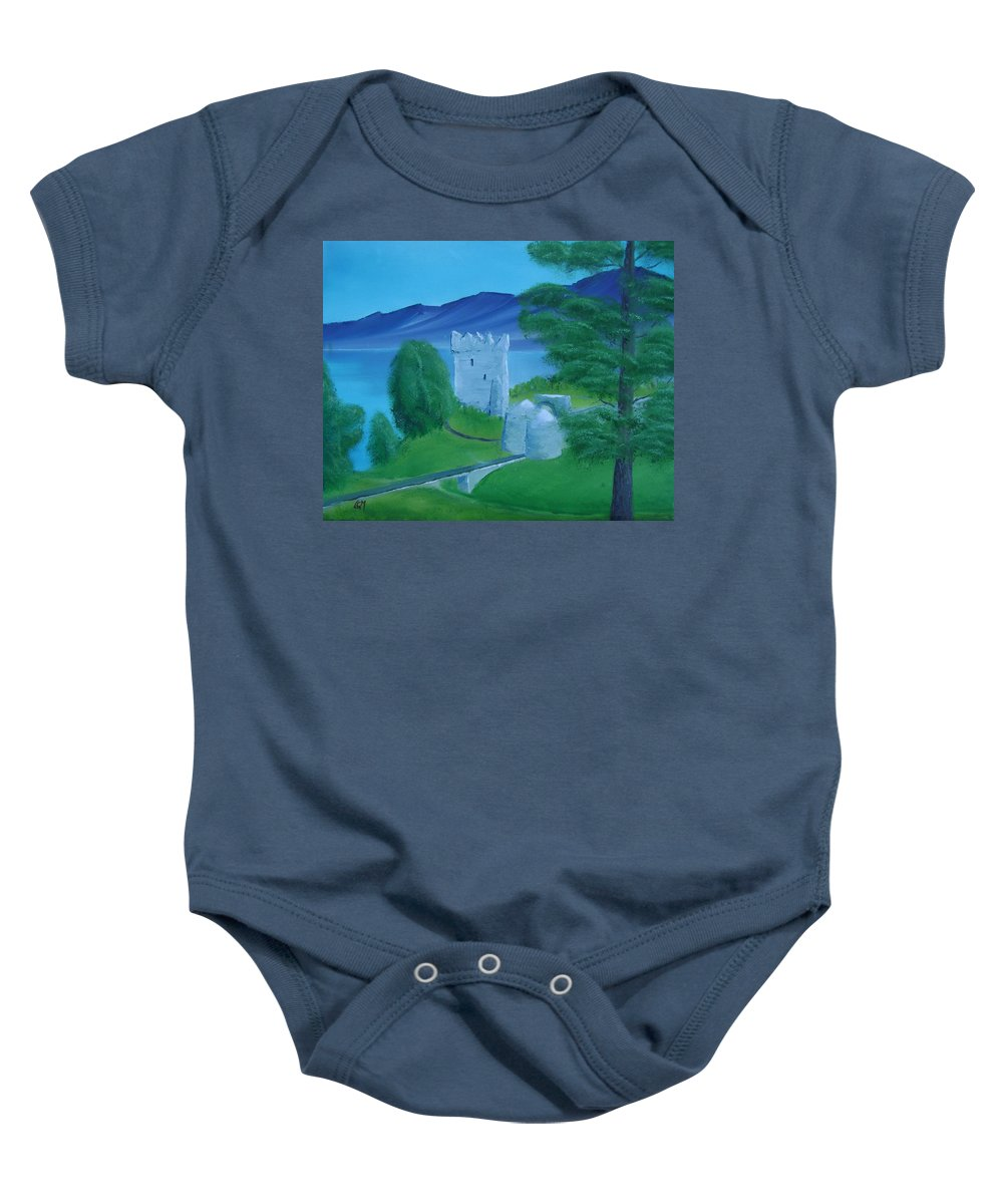 Painting Baby Onesie featuring the painting Urquhart Castle by Charles and Melisa Morrison