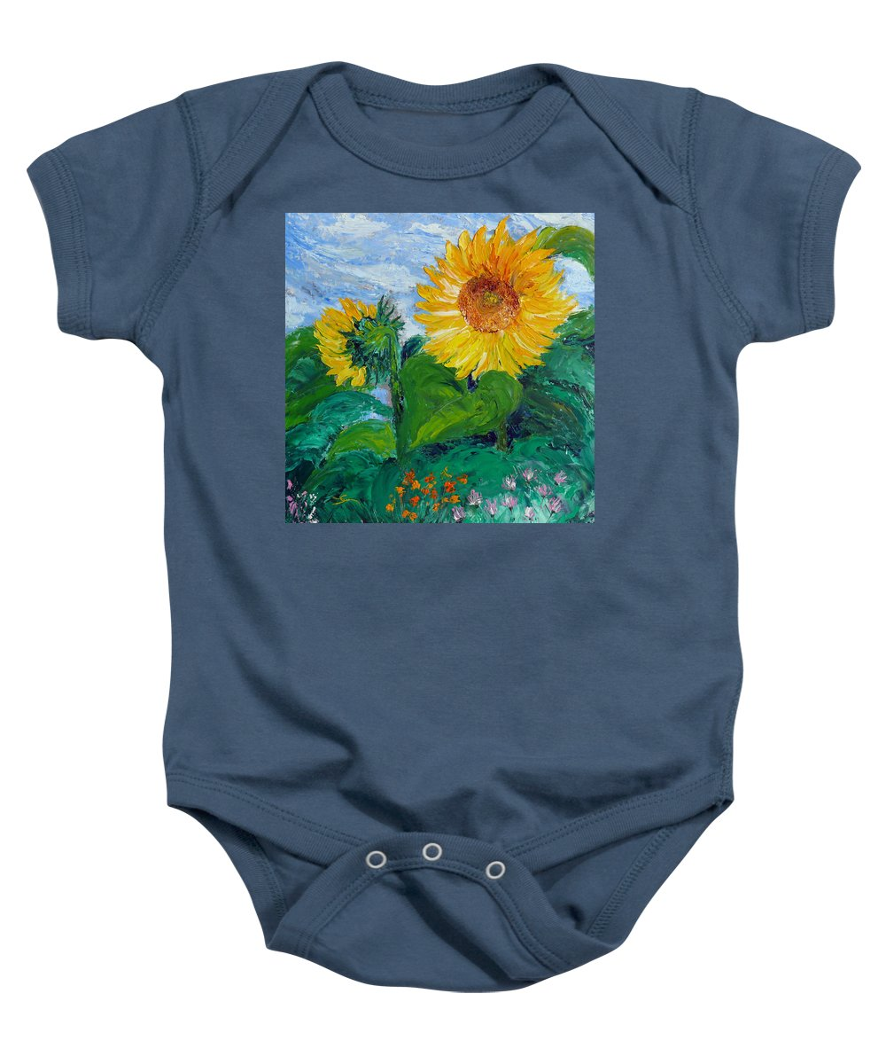 Sunflower Baby Onesie featuring the painting Van Gogh Sunflowers by Dee Carpenter