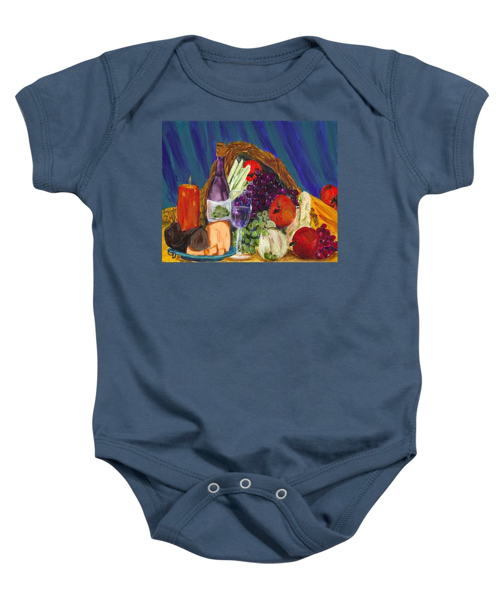 #still Life Prints Baby Onesie featuring the painting Wine Cornucopia by Gail Daley