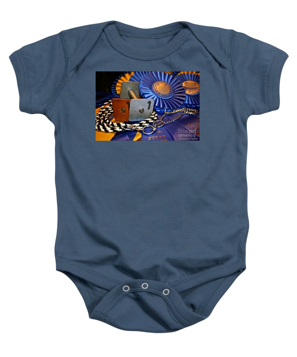 Dog Show Prize Baby Onesie featuring the photograph Winning Articles by Susan Herber
