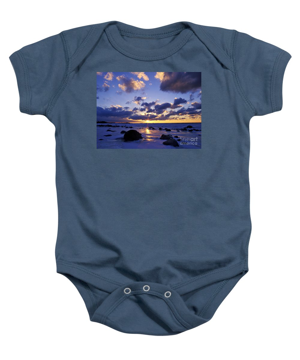 Sunset Baby Onesie featuring the photograph Winter Sunset On Lake Michigan - Fm000053 by Daniel Dempster