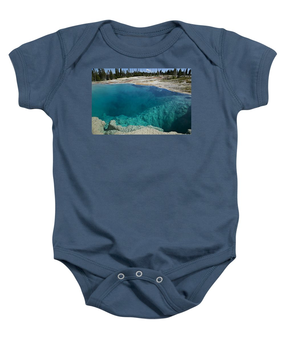 Hot Baby Onesie featuring the photograph  Turquoise Hot Springs Yellowstone by Garry Gay