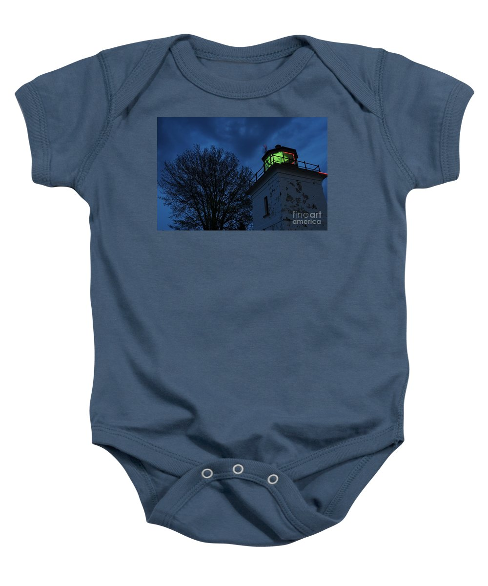 Beacon Baby Onesie featuring the photograph Lighthouse At Night by Joe Ng