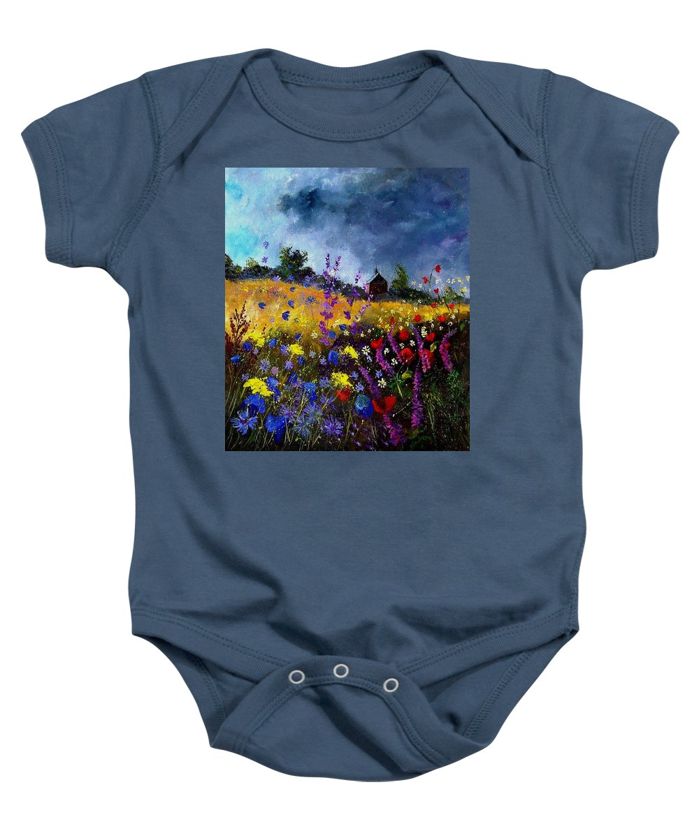 Flowers Baby Onesie featuring the painting Old Chapel And Flowers by Pol Ledent