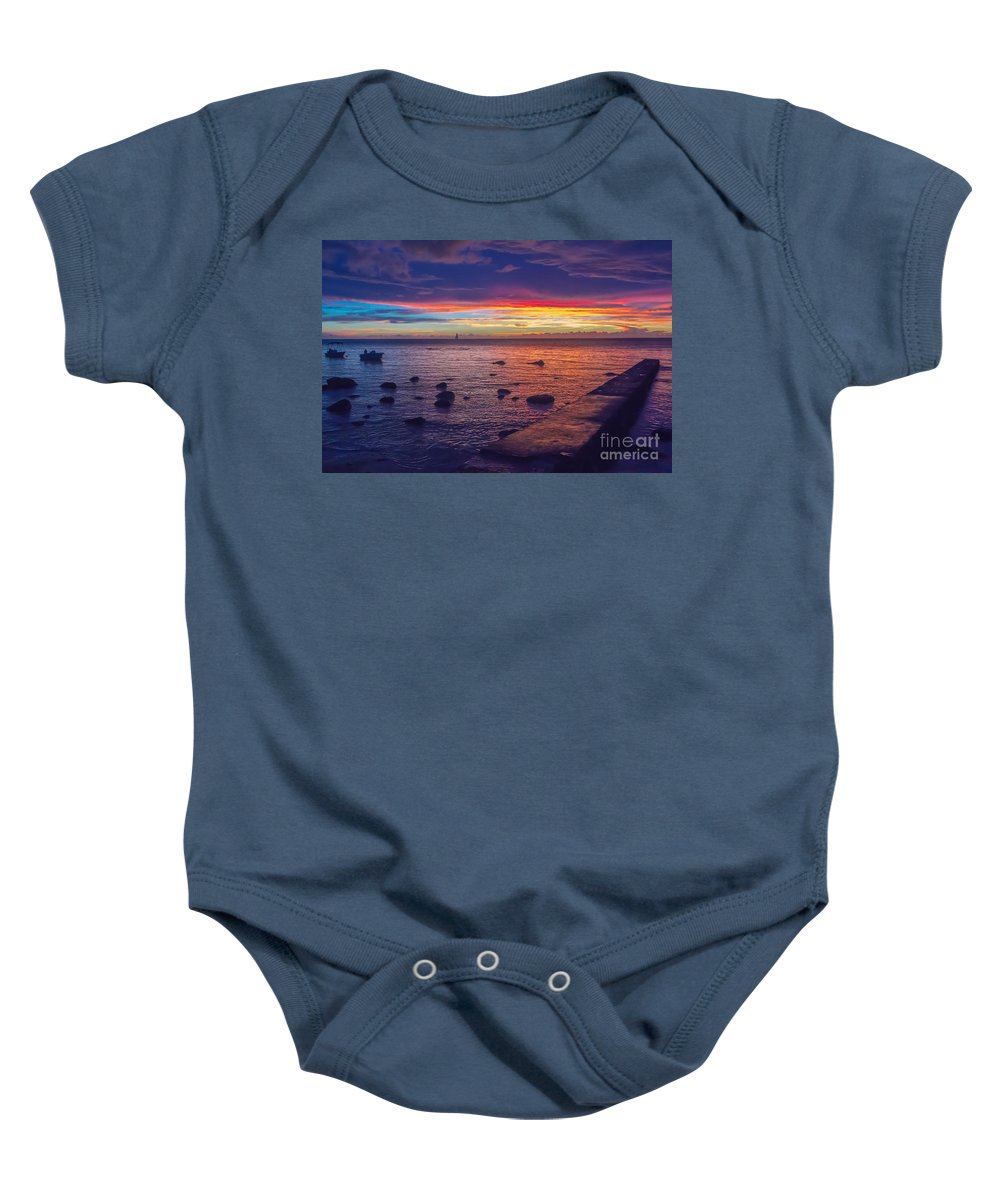 Sunset Baby Onesie featuring the photograph Sunset At Mauritius by Amanda Mohler