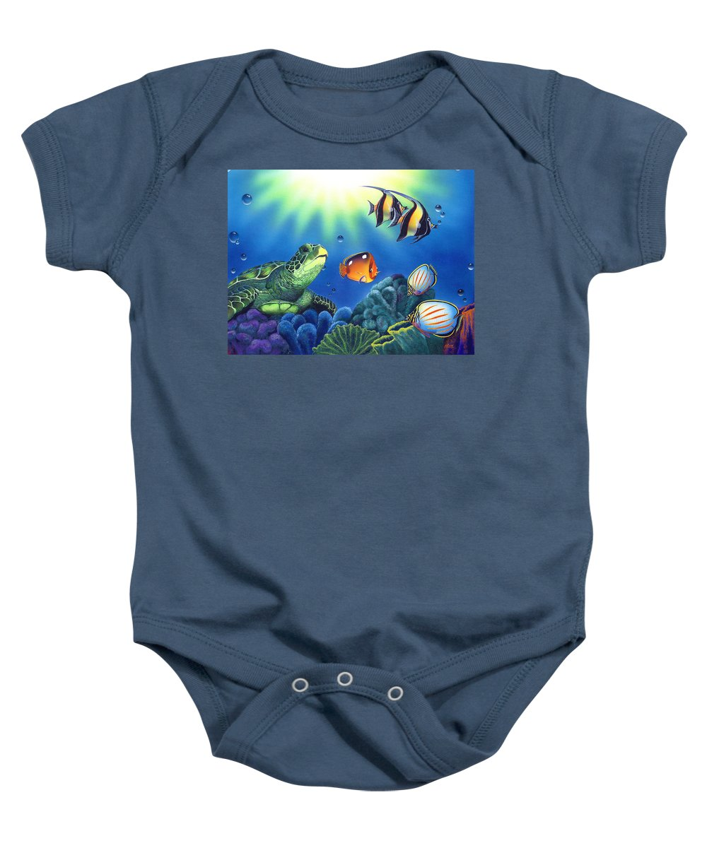Turtle Baby Onesie featuring the painting Turtle Dreams by Angie Hamlin