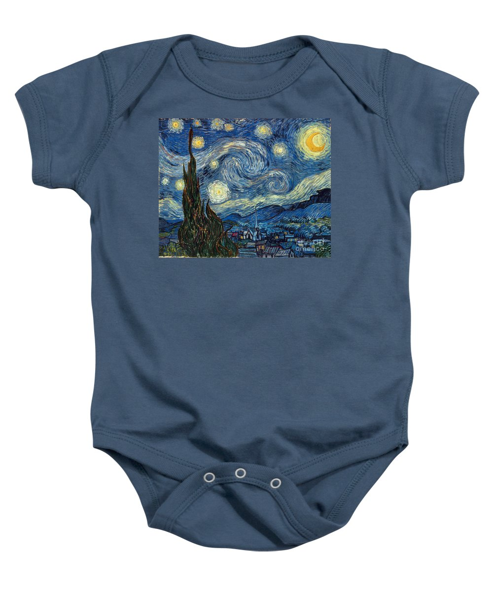 1889 Baby Onesie featuring the painting Van Gogh Starry Night by Granger