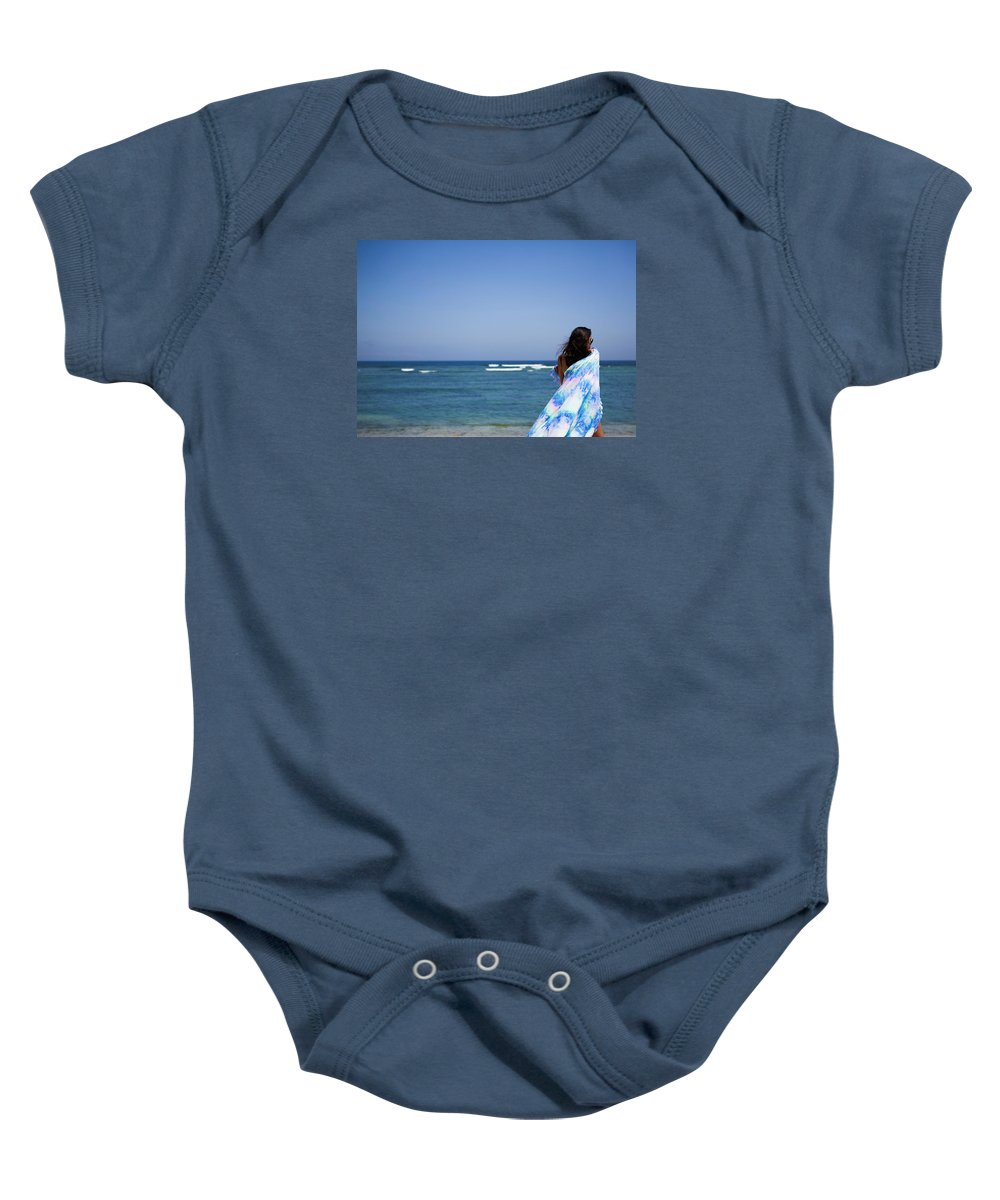 Beach Baby Onesie featuring the photograph Woman On Beach by Norman Quinn