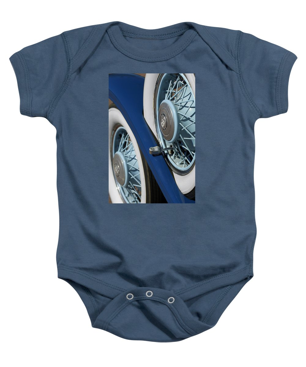 Car Baby Onesie featuring the photograph 1930 Db Dodge Spare Tire by Jill Reger