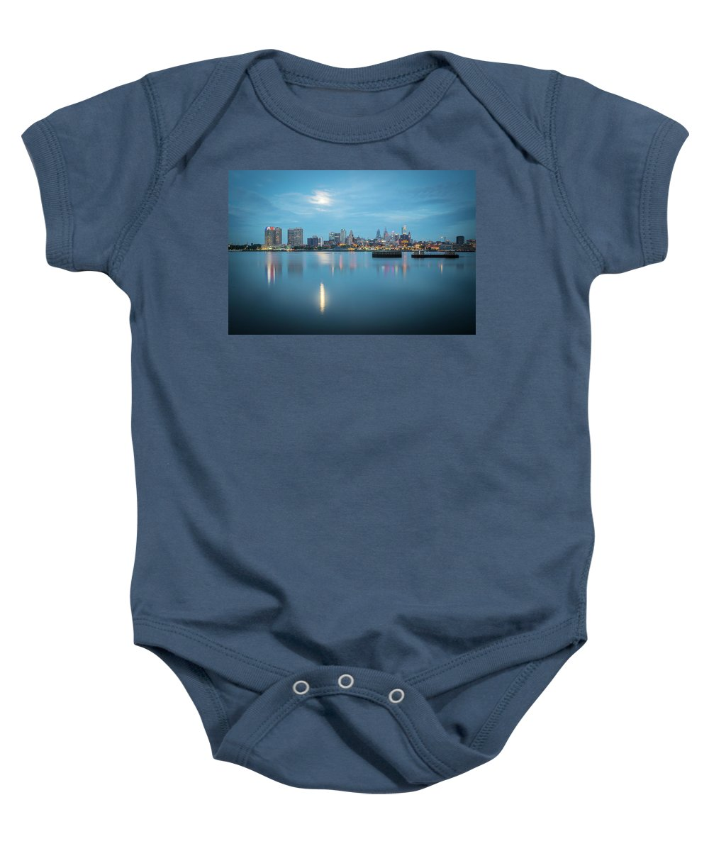 City Baby Onesie featuring the photograph early morning sunrise over city of philadelphia PA by Alex Grichenko