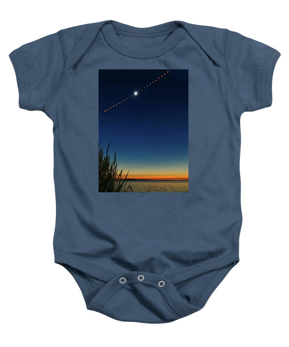 Total Eclipse Baby Onesie featuring the photograph 2017 Great American Eclipse by Greg Norrell