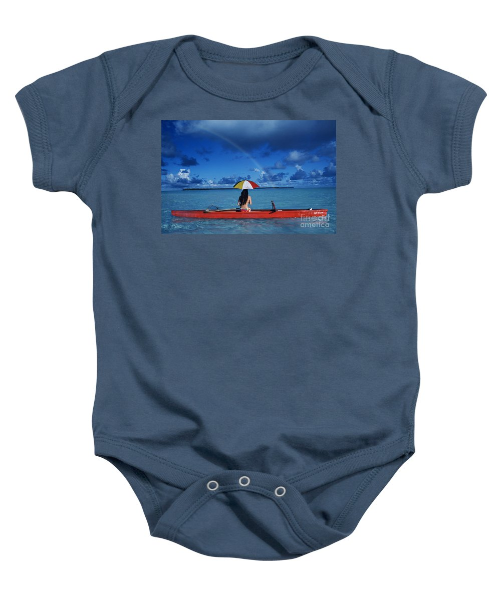 Aku Baby Onesie featuring the photograph French Polynesia, Tetiaro by Larry Dale Gordon - Printscapes
