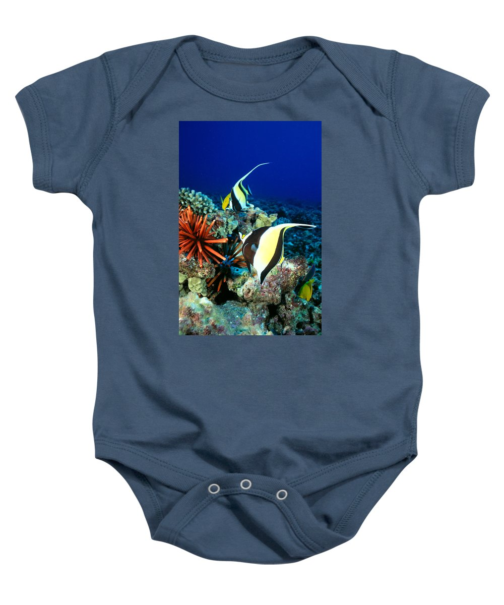 30-pfs0056 Baby Onesie featuring the photograph Hawaiian Reef Scene by Dave Fleetham - Printscapes