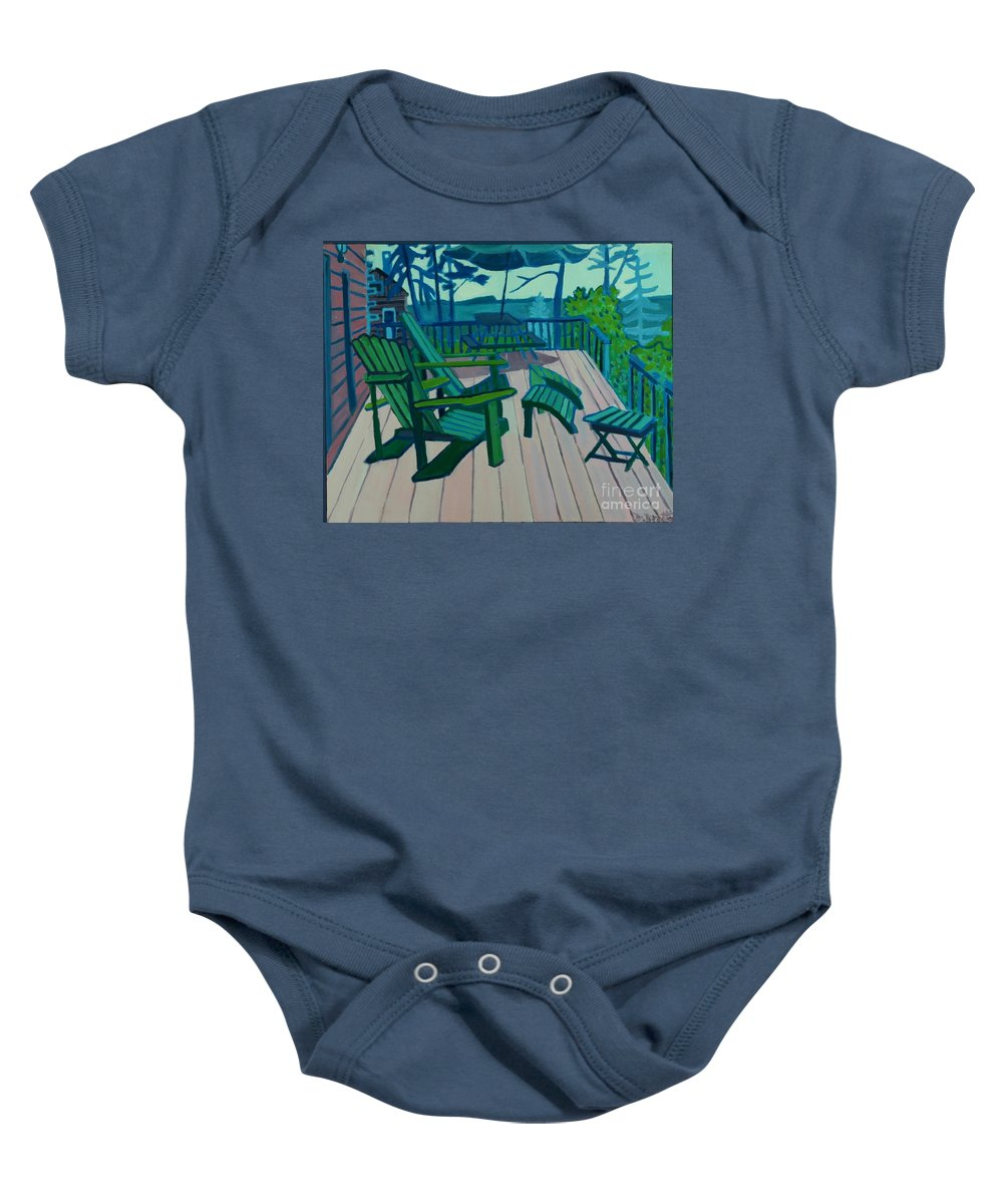 Ocean Baby Onesie featuring the painting Adirondack Chairs Maine by Debra Bretton Robinson