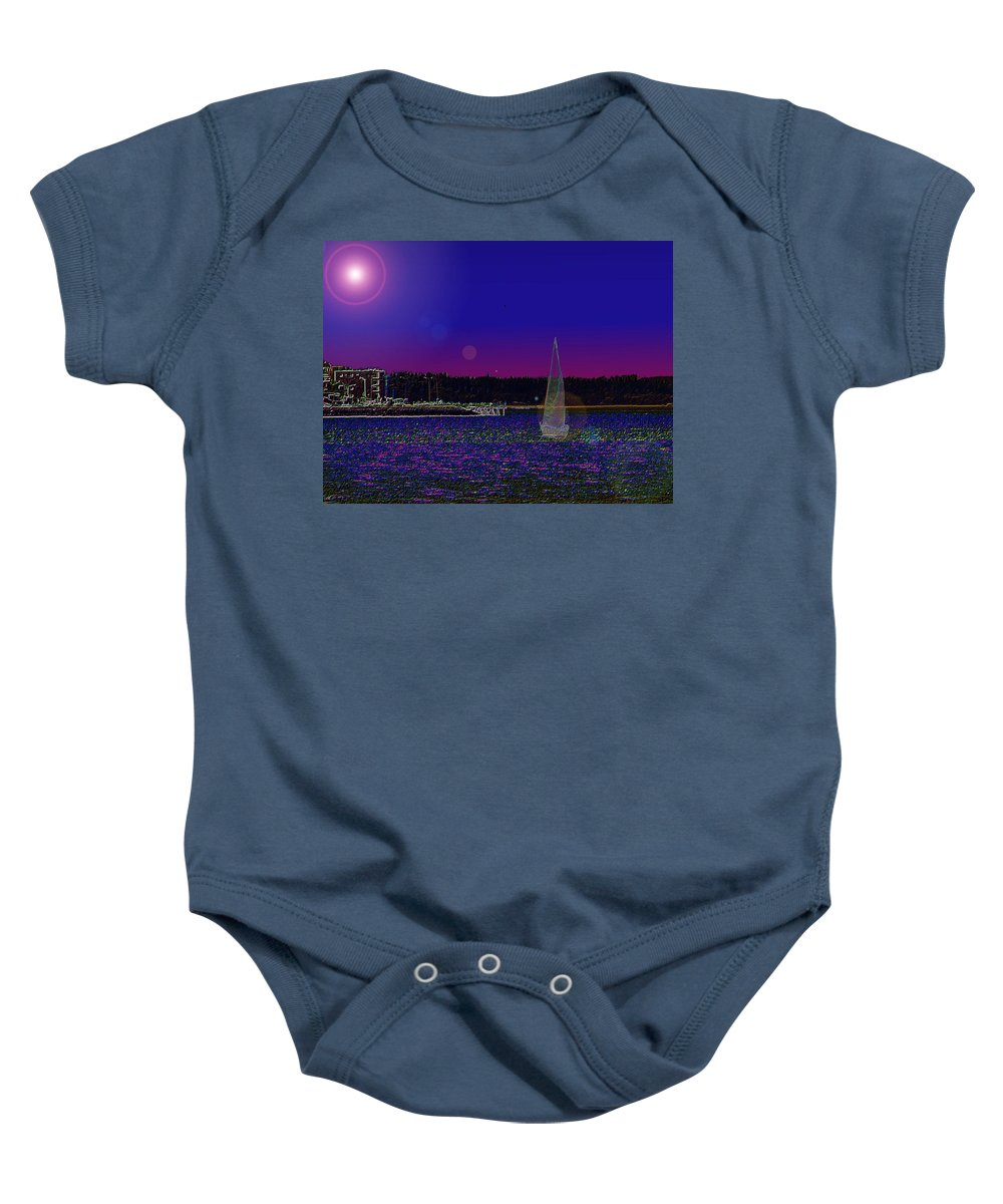 Seattle Baby Onesie featuring the digital art Alki Ghost Sail by Tim Allen