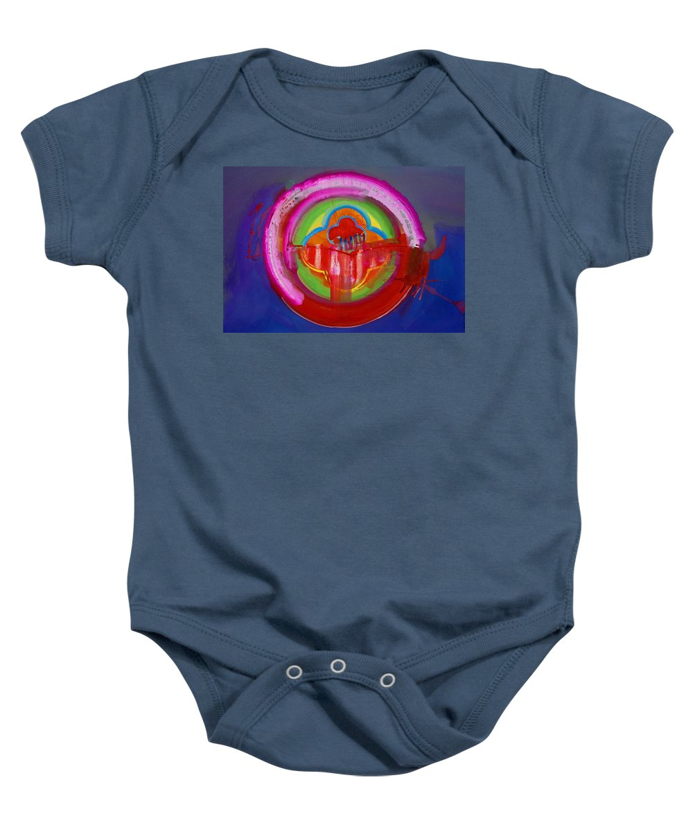 Button Baby Onesie featuring the painting American Evangelical by Charles Stuart