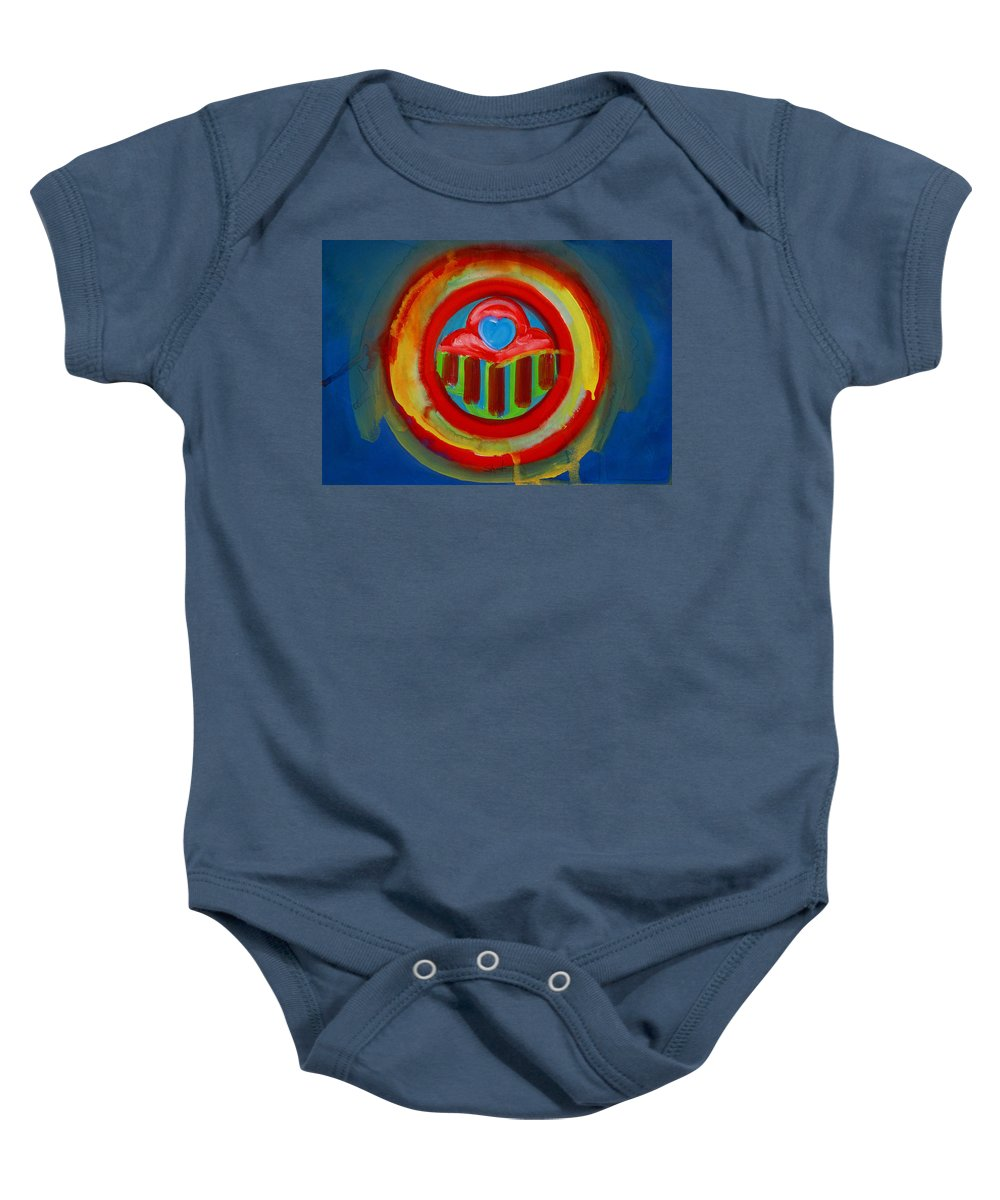 Button Baby Onesie featuring the painting American Love Button by Charles Stuart