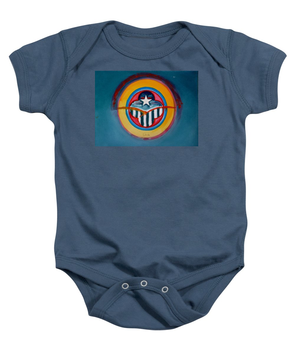 Button Baby Onesie featuring the painting Army by Charles Stuart