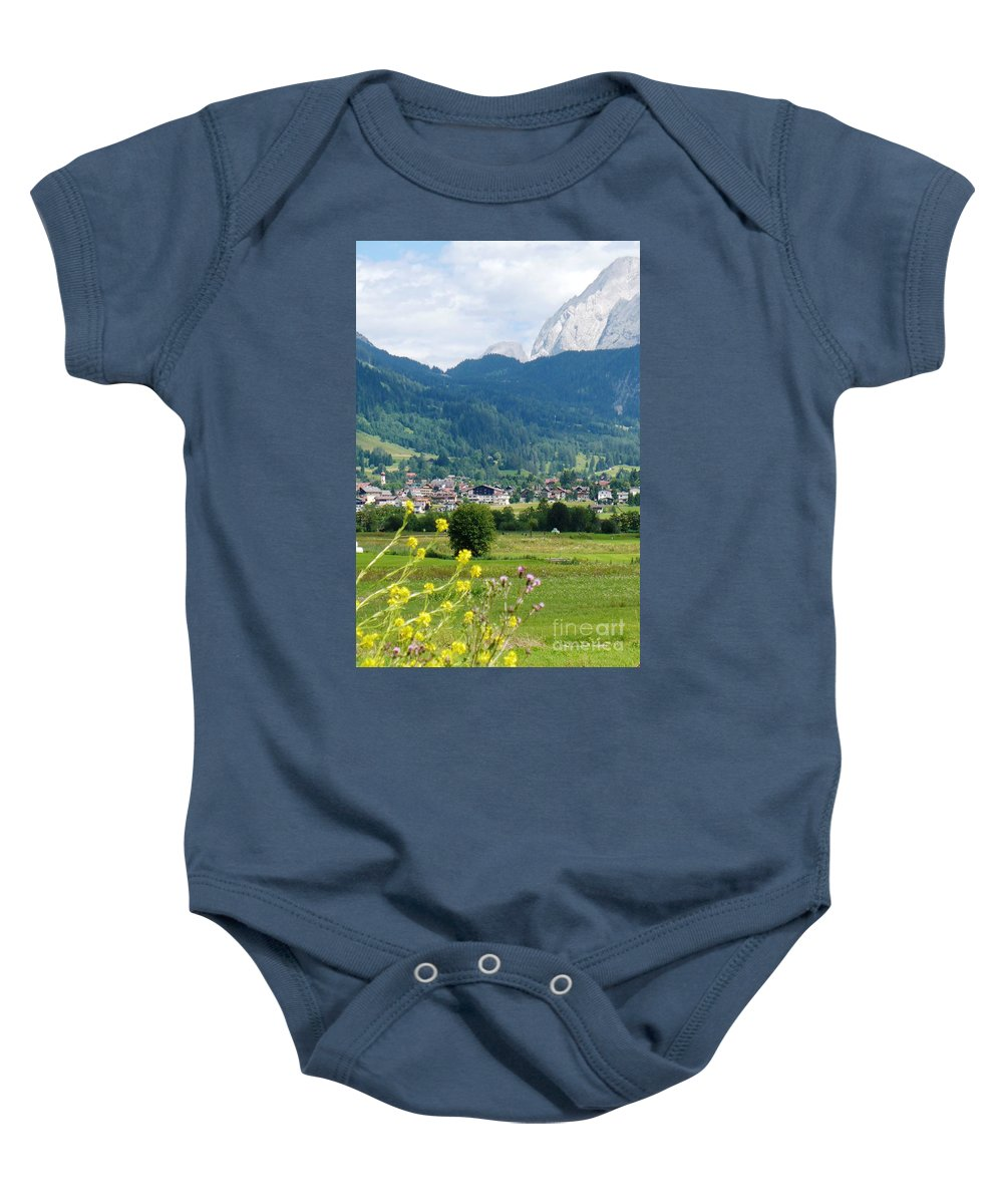 Bavaria Baby Onesie featuring the photograph Bavarian Alps With Village And Flowers by Carol Groenen