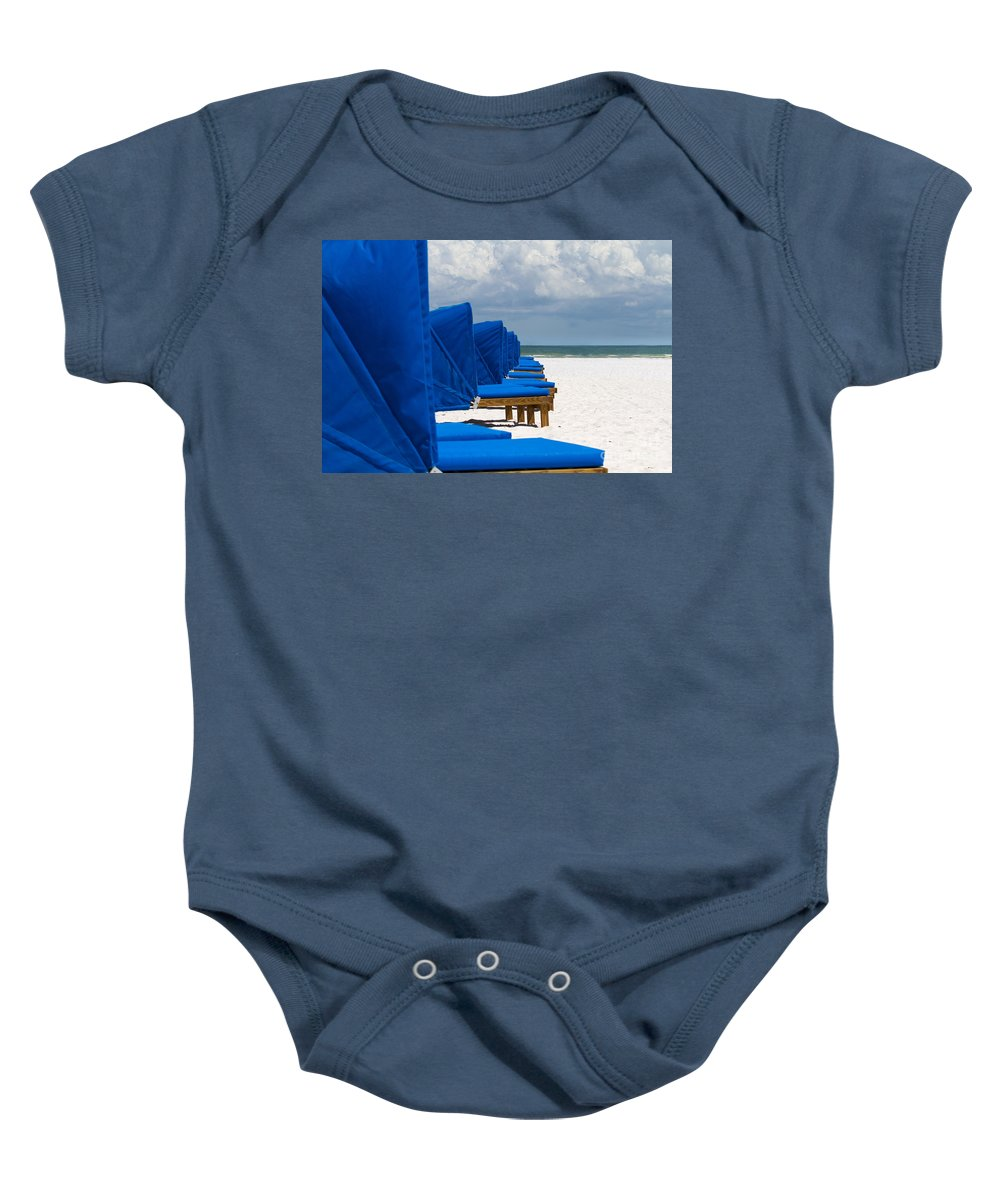 Blue Baby Onesie featuring the photograph Beach Umbrellas 3 By Darrell Hutto by J Darrell Hutto