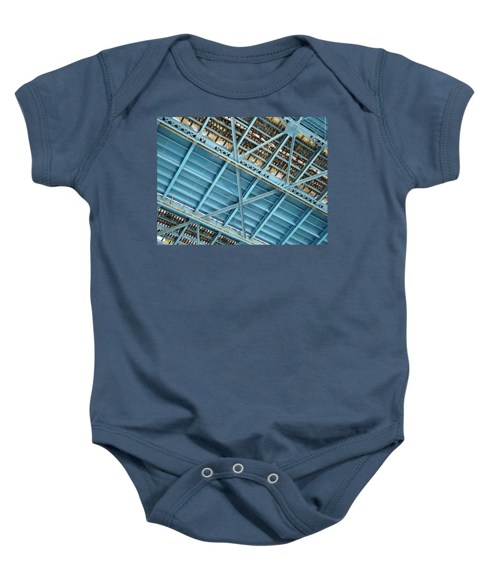New York Baby Onesie featuring the photograph Below The Bridge by Valerie Ornstein