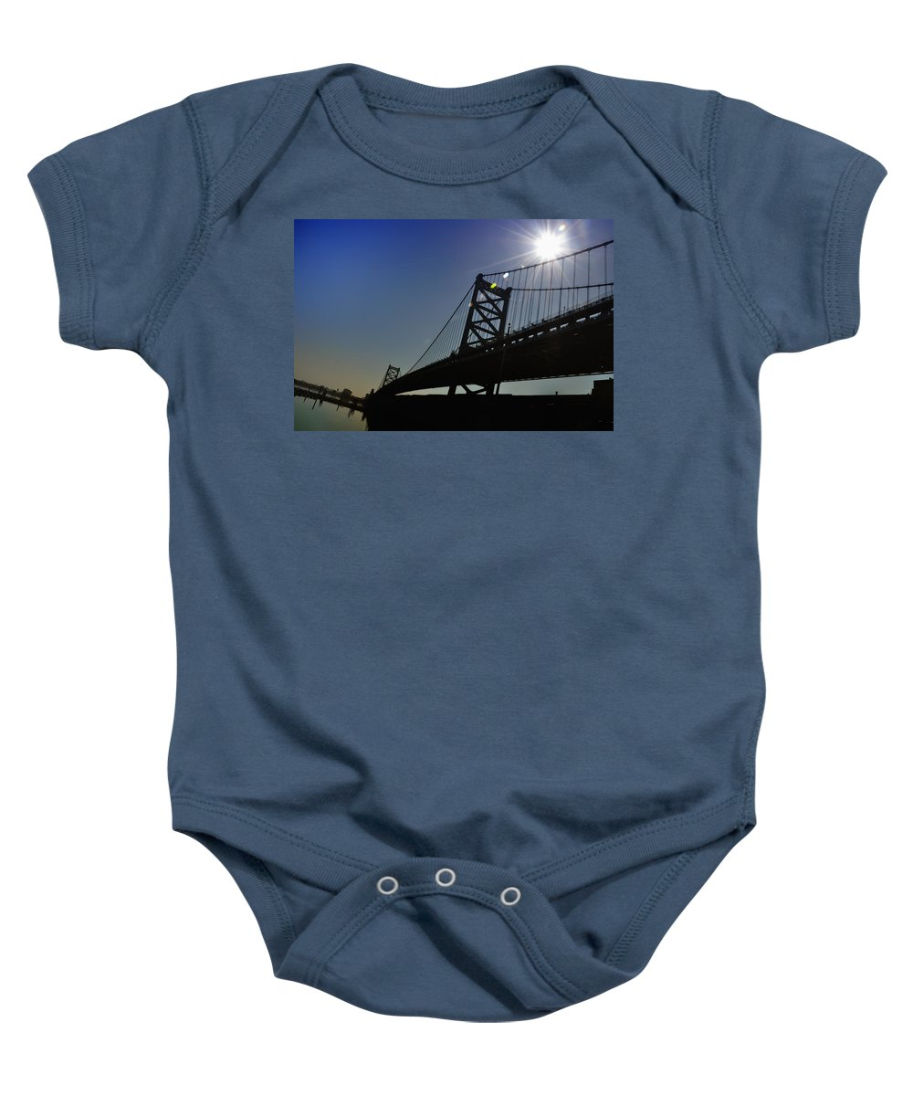 Philadelphia Baby Onesie featuring the photograph Ben Franklin Bridge 2 by Bill Cannon