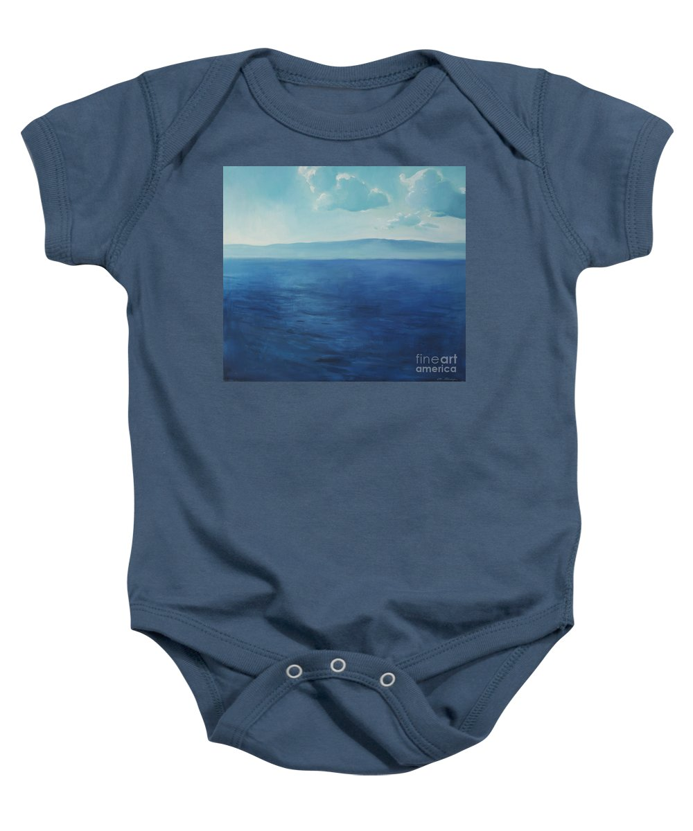 Lin Petershagen Baby Onesie featuring the painting Blue Blue Sky Over The Sea by Lin Petershagen