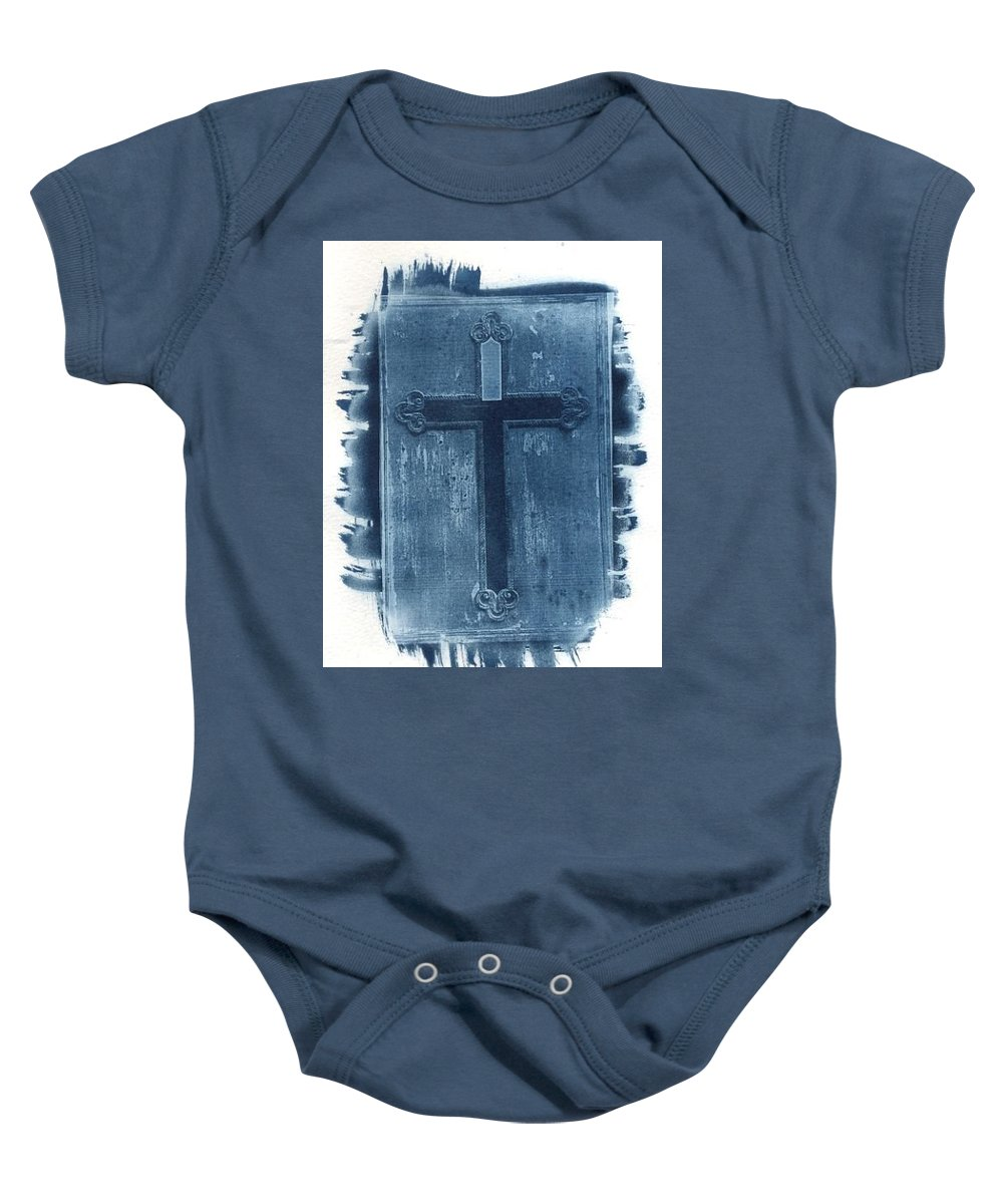Cyanotype Baby Onesie featuring the photograph Blue Cross by Jane Linders