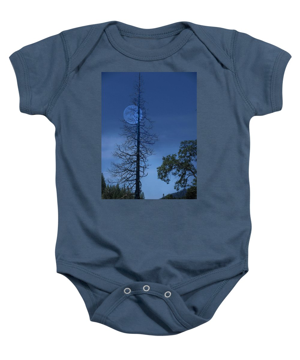 Landscape Baby Onesie featuring the photograph Blue Moon by Karen W Meyer