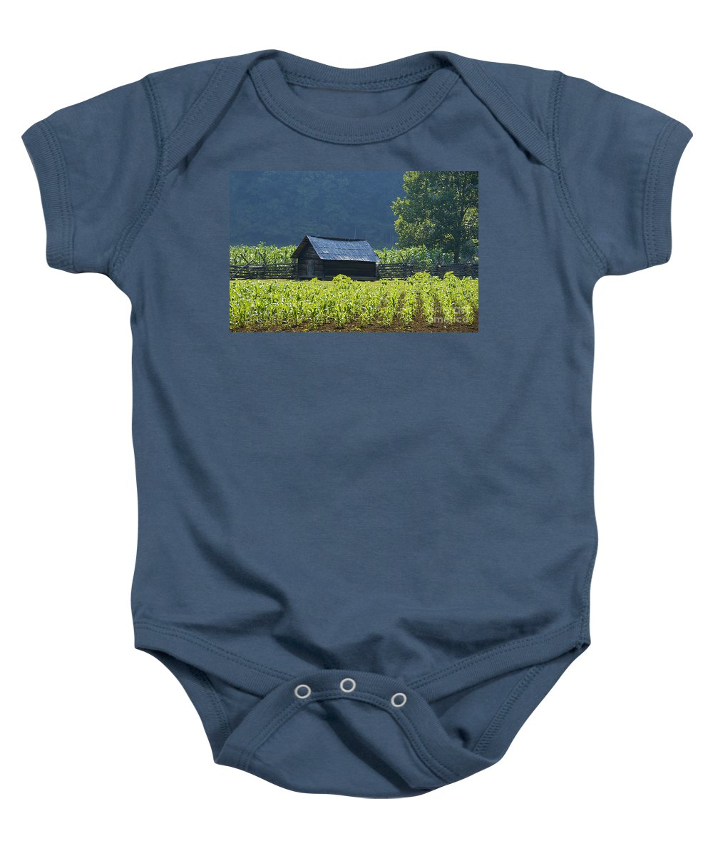 Farm Baby Onesie featuring the photograph Blue Mountain Farm by David Lee Thompson