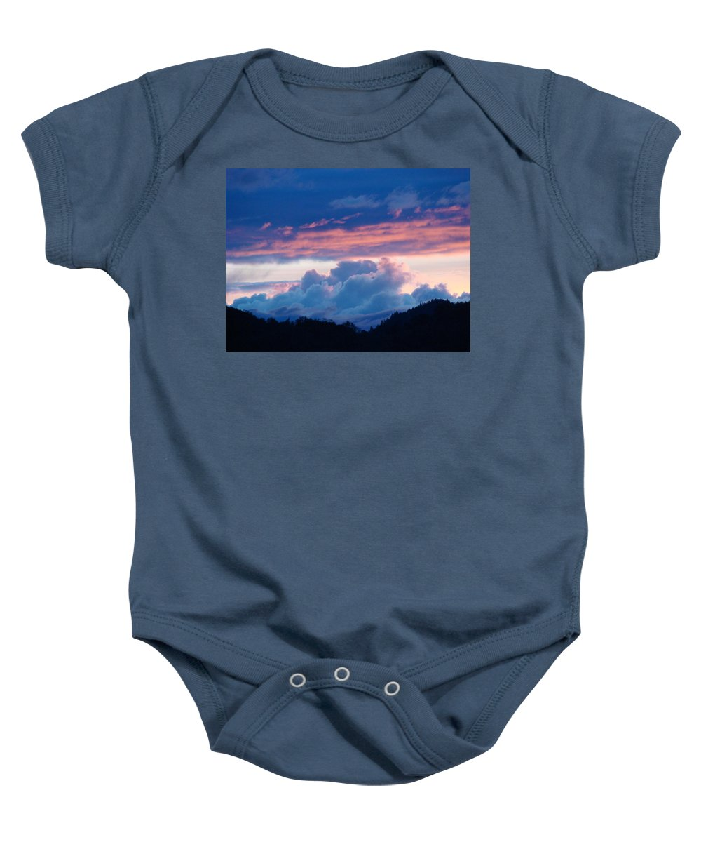 Sunset Baby Onesie featuring the photograph Blue Twilight Clouds Art Prints Mountain Pink Sunset Baslee Troutman by Baslee Troutman