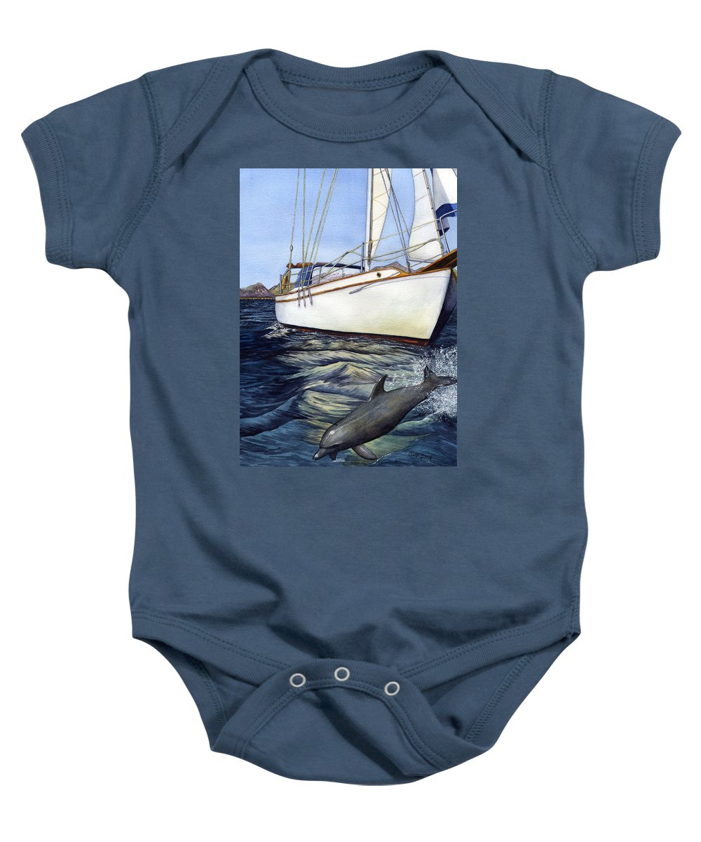 Sailing Baby Onesie featuring the painting Brief Encounter by Catherine G McElroy