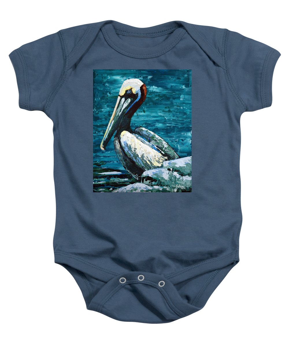 Acrylic Baby Onesie featuring the painting Brownie On A Seawall by Suzanne McKee
