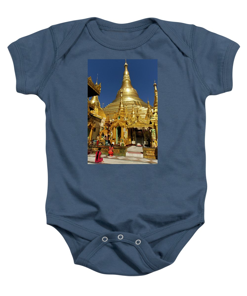 Asia Baby Onesie featuring the photograph Burma's Golden Pagoda by Michele Burgess