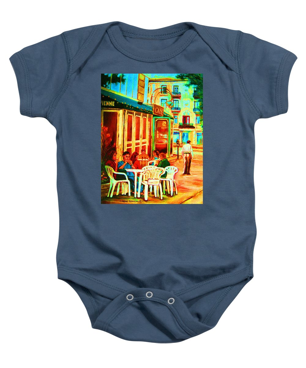 Cafes Baby Onesie featuring the painting Cafe Vienne by Carole Spandau