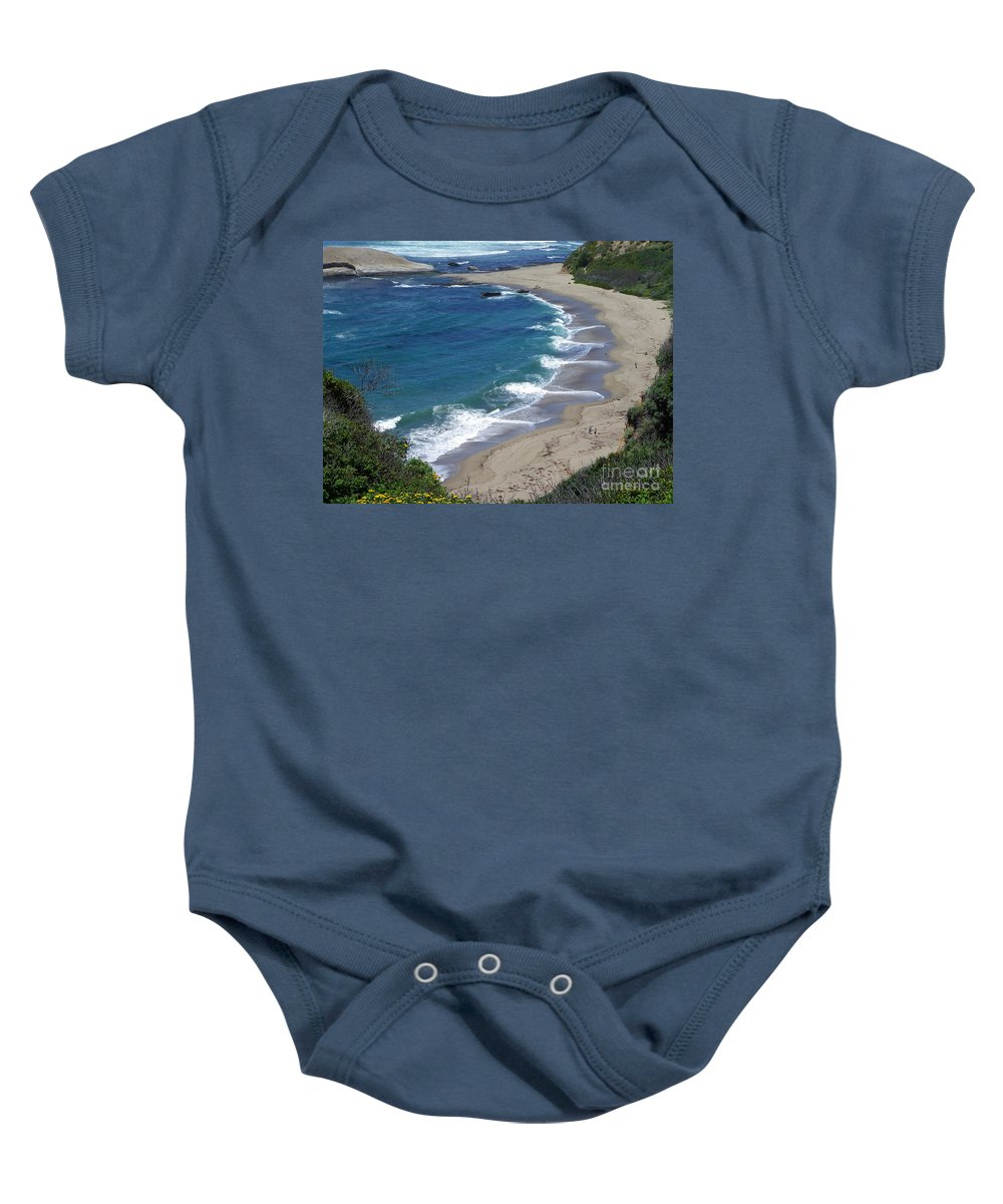 Seascape Baby Onesie featuring the photograph California Lovin by Charleen Treasures
